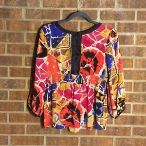 Peter Nygard Silk Abstract Patterned Blouse